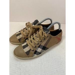 Burberry Beige Nova Check Canvas and Leather Cap Toe Sneakers
